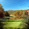 View of the 16th green on the Bald Mountain Course at Rumbling Bald Resort on Lake Lure