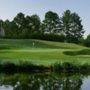 A view of a hole with water and bunkers coming into play at Cross Creek Country Club.