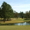 A view over the water of a green at Asheboro Golf Course